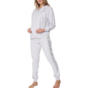 textil Mujer Pijama Admas Pijama de terciopelo interior pantalón chaqueta capucha Sport Gris Claro