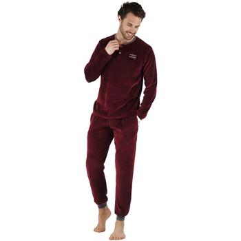textil Hombre Pijama Admas Velour Home GRANATE