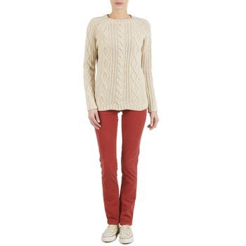 textil Mujer pantalones con 5 bolsillos Kulte PANTALON PLANCHER 101819 ROUGE Rojo