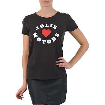 textil Mujer camisetas manga corta Kulte LOUISA JOLIEMOTOR 101954 NOIR Negro