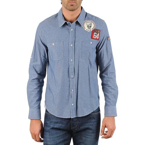 textil Hombre camisas manga larga Mr Marcel NEBRASKA Azul