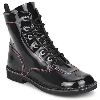 Zapatos Niña Botas de caña baja Kickers KICK MOOD Negro / Barniz