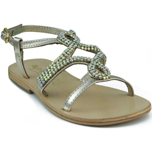 Zapatos Niños Sandalias Oca Loca OCA LOCA SANDALIA NIÑA PIEL METALIZADA ADORNO STRASS ORO ORO