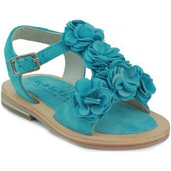 Zapatos Niña Sandalias Oca Loca OCA LOCA SANDALIA BEBE PIEL FLORES CELESTE