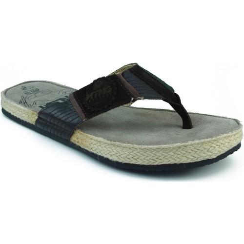 Zapatos Hombre Chanclas MTNG MUSTANG SERRAJE CANVAS DEDO MARRON