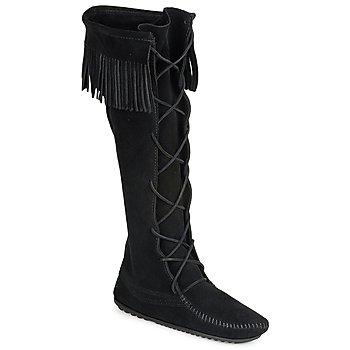 Zapatos Mujer Botas urbanas Minnetonka FRONT LACE HARDSOLE KNEE HI BOOT Negro