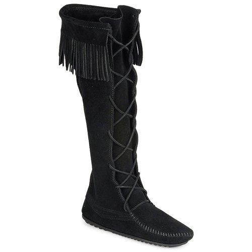 Minnetonka FRONT LACE HARDSOLE KNEE HI BOOT Negro - Envío gratis | ! - Zapatos Botas urbanas Mujer