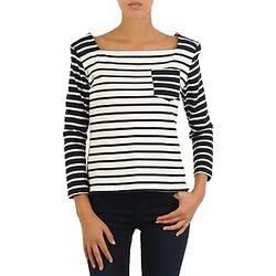 textil Mujer Camisetas manga larga Petit Bateau CARTABLE Marino / Blanco
