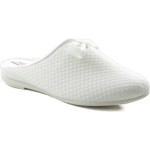 Zapatos Mujer Pantuflas Vulladi CUADRADITO Y VERSATIL BLANCO