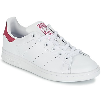 Zapatos Niña Zapatillas bajas adidas Originals STAN SMITH J Blanco / Rosa