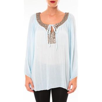 textil Mujer Túnicas Tcqb Tunique TDI paillettes bleu ciel Azul