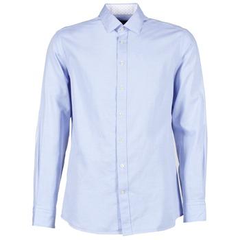 textil Hombre camisas manga larga Hackett SQUARE TEXT MUTLI Azul