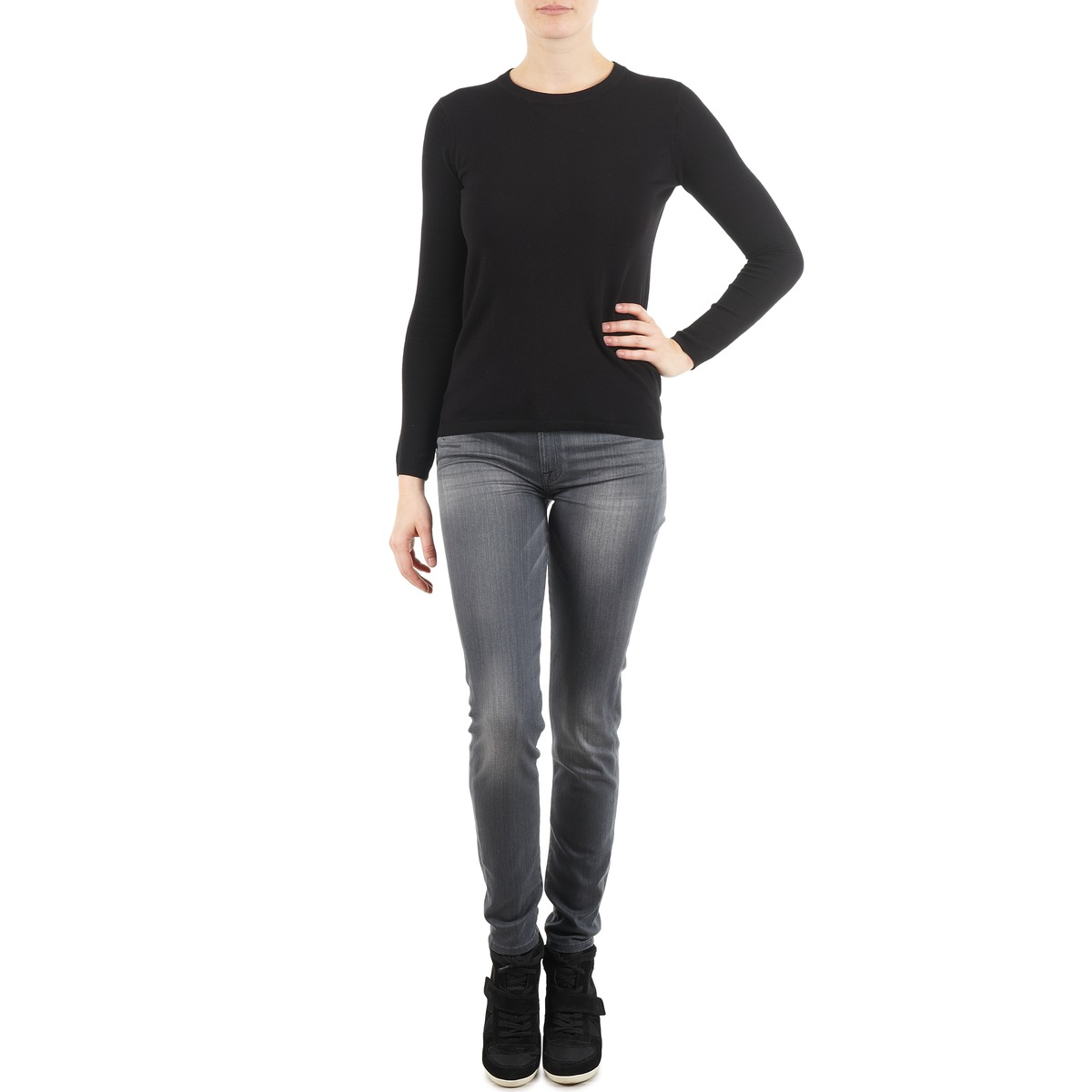 7 for all Mankind THE SKINNY DARK STARS PAVE Gris