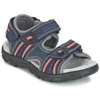 Zapatos Niña Sandalias de deporte Geox S.STRADA A Marino / Rojo