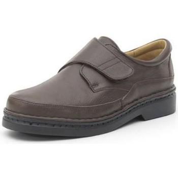 Zapatos Hombre Derbie Calzamedi ZAPATO CON VELCRO COMODO COSIDO A MANO H MARRON