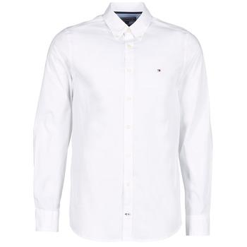 textil Hombre camisas manga larga Tommy Hilfiger STRETCH POPLIN Blanco