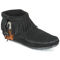 Zapatos Mujer Botas de caña baja Minnetonka CONCHO FEATHER SIDE ZIP BOOT Negro