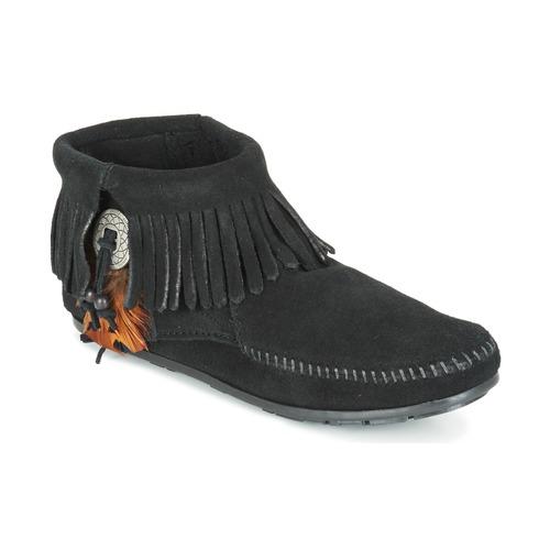 Los últimos zapatos de descuento para hombres y mujeres Zapatos especiales Minnetonka CONCHO FEATHER SIDE ZIP BOOT Negro