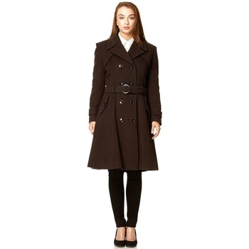 textil Mujer trench De La Creme Abrigo largo de lana y cachemira. Brown