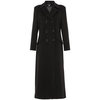 textil Mujer Abrigos De La Creme Abrigo largo entallado cruzado Black