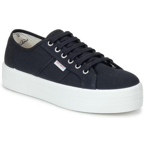 Mujer Negro Victoria Bajas Lona Zapatos Zapatillas Plataforma Blucher q4jL5AR3