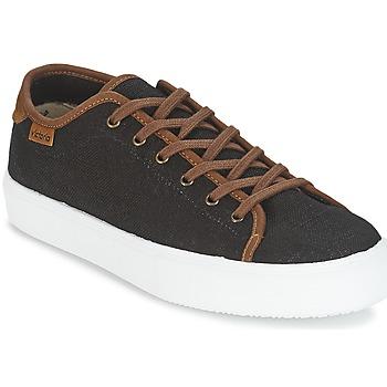 Zapatos Hombre Zapatillas bajas Victoria BASKET LINO DETALLE MARRON Negro / Marrón