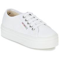 Zapatos Niña Zapatillas bajas Victoria BASKET LONA PLATAFORMA KIDS Blanco