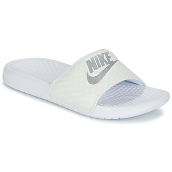 Zapatos Mujer Chanclas Nike BENASSI JUST DO IT W Blanco / Plata