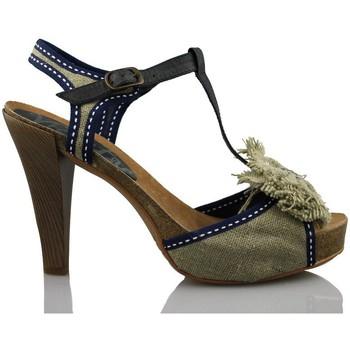 Zapatos Mujer Sandalias Vienty BIO LAZO NATURAL CINTAS AZUL BEIG