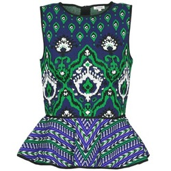textil Mujer camisetas sin mangas Manoush JACQUARD OOTOMAN Azul / Negro / Verde