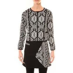 textil Mujer Chaquetas / Americana Bamboo's Fashion Veste Chiner BW682 noir et blanc Negro