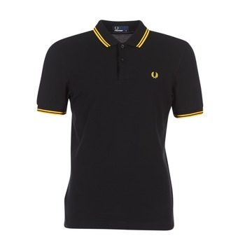 textil Hombre Polos manga corta Fred Perry SLIM FIT TWIN TIPPED Negro / Amarillo