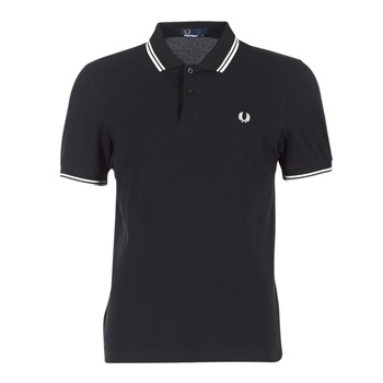 textil Hombre Polos manga corta Fred Perry SLIM FIT TWIN TIPPED Negro / Blanco