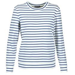 textil Mujer sudaderas Petit Bateau BEAM Blanco / Marino
