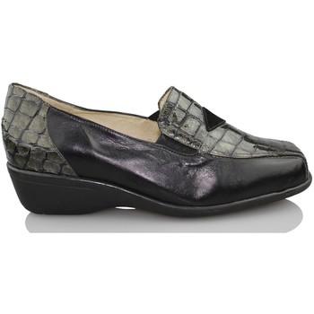 Zapatos Mujer Mocasín Sana Pies S CHAROL NEGRO