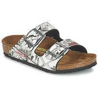 Zapatos Niño Zuecos (Mules) Birkenstock ARIZONA Negro / Blanco