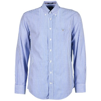 textil Hombre camisas manga larga Gant THE POPLIN BANKER STRIPE Azul