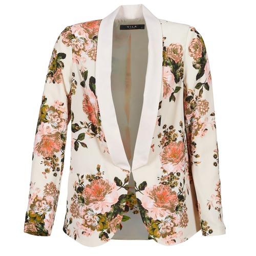 textil Mujer Chaquetas / Americana Vila VIFLOURISH BLAZER Beige / Florido