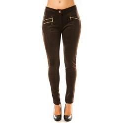 textil Mujer Pantalones fluidos Tcqb Pantalon P604 Marron Marrón