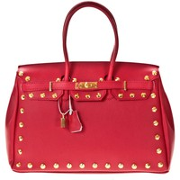 Bolsos Mujer Bolso shopping Soleil Bleu Sac DS Création clous dorés Rojo