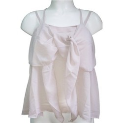 textil Mujer Camisetas sin mangas Aggabarti Top 121068 Écru Beige