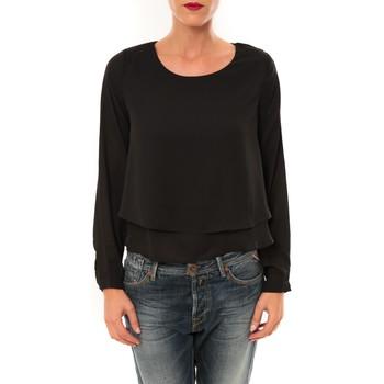 textil Mujer Camisetas manga larga By La Vitrine Top Z014 noir Negro