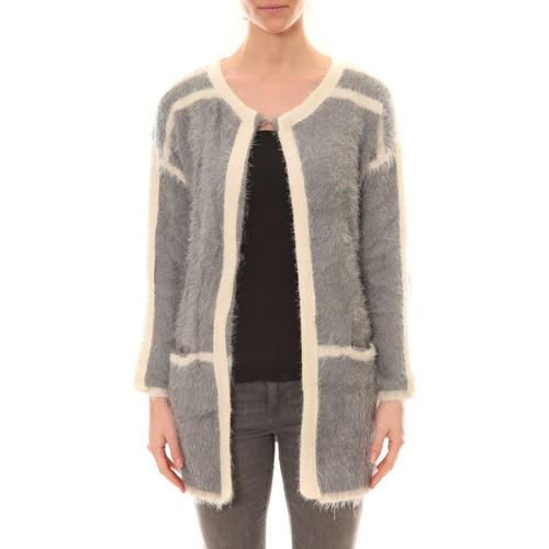 textil Mujer Chaquetas de punto De Fil En Aiguille Gilet 1815 Bicolore Gris /Blanc Gris