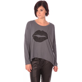 textil Mujer Camisetas manga larga Charlie Joe Top Lips Gris Gris