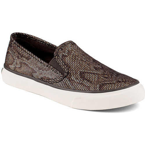 Zapatos Mujer Slip on Sperry Top-Sider Seacoast Python Black/Gold Oro