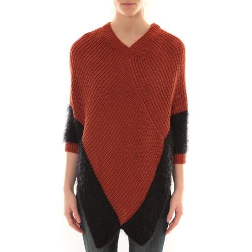 textil Mujer Chaquetas de punto Barcelona Moda Poncho Bicolore Naranja