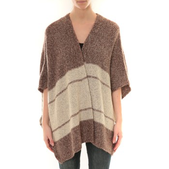 textil Mujer Chaquetas de punto Barcelona Moda Gilet YM21 Marron et Beige Marrón