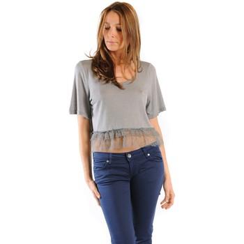 textil Mujer Camisetas manga corta Gat Rimon TOP LYLY PLOMB Gris