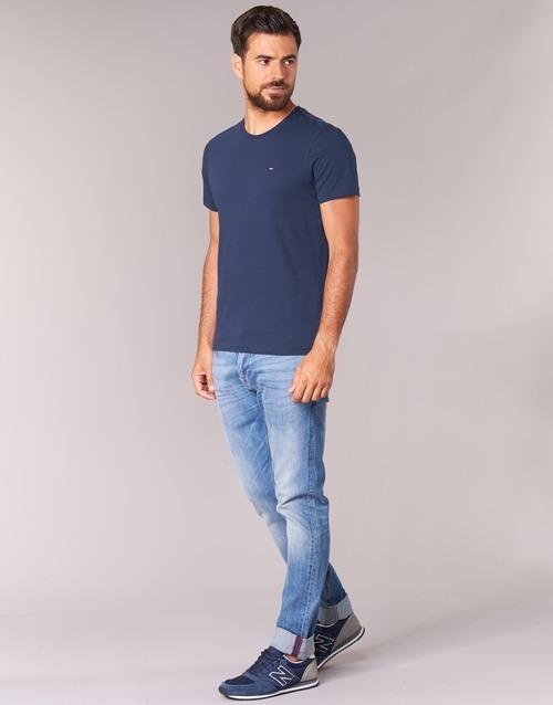 Hombre Corta Jeans Textil Manga Camisetas Ofleki Marino Tommy zqSVUMp