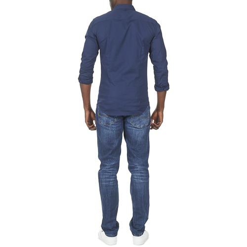 Jeans Marino Larga Textil Kantermi Tommy Manga Hombre Camisas bfgyY76Iv